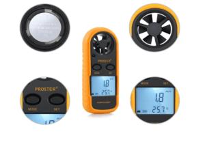 Anémomètre Proster Digital LCD pour mesurer la vitesse du flux d'air