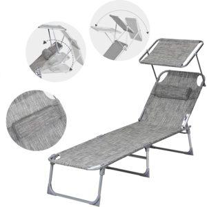 Ce modèle est conçu avec un repose-pied rétractable pour soutenir les pieds de l'utilisateur et d'un pare-soleil réglable pour se cacher du soleil