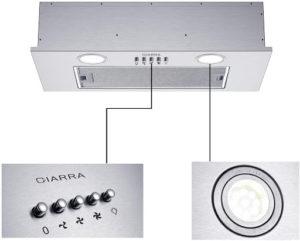 Cette hotte au design moderne possède trois vitesses d'aspiration ainsi que deux lampes LED intégrées.