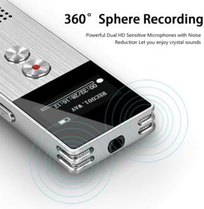 D'après les tests, le dictaphone enregistre les voix à 260°.