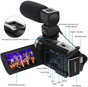 L'appareil photo numérique est livré avec deux batteries Li-ion de 3,7 V 1500 mAh, rotation à 270 degrés.