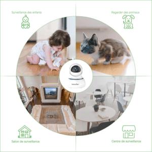 Le design de ces caméras de surveillance permet différents angles de vue et convient, selon les tests du fabricant, à de nombreux supports (plafonds, murs, tables, …).