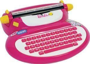 Machine à écrire de couleur rose avec un clavier azerty.