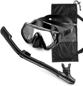 Masque pour la plongée comportant des lunettes, un tuba et une jupe.