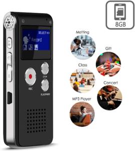 le dictaphone est à la fois enregistreur vocal numérique et à la fois mini lecteur MP3 musique.