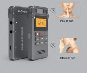le dictaphone est équipé d'une technologie détectant la voix.