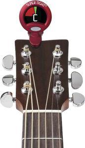 Un accordeur de guitare à pince multi-usages pour tous vos instruments, avec rotation à 360° pour un accordage optimal.