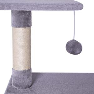 Ce petit arbre à chat est munis de plusieurs griffoires ainsi que d'un jouet.