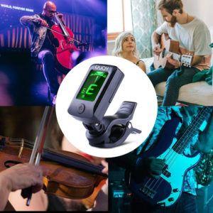 Profitez d'un accordeur de guitare à pince tout-terrain rétro-éclairé, avec en bonus un set de 12 médiators offerts.