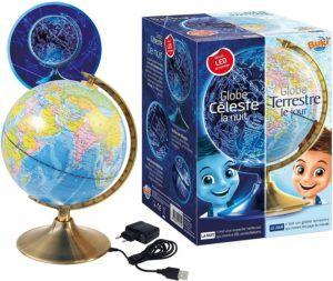 Globe interactif fonctionnant sur secteur, capable d'émettre de la lumière LED.
