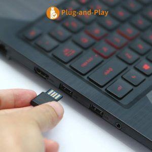 Un mini récepteur USB à brancher pour un fonctionnement avec votre pointeur laser