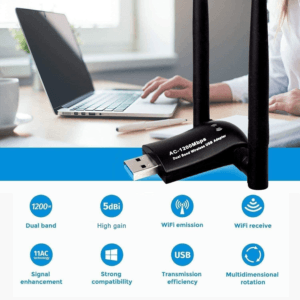 Cette clé wifi fonctionne avec un adaptateur USB et un récepteur sans fil.