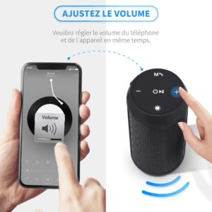 Cette enceinte portable vous permet de gérer le volume sur votre portable ou directement sur l'enceinte.