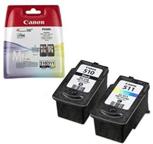 Ce pack d'encre pour imprimante comprend une cartouche d'encre noire et une cartouche d'encre colorée.
