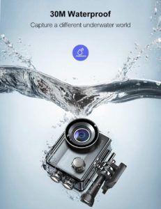 Après avoir installé le boîtier étanche sur la caméra, vous pouvez plonger jusqu'à 30 mètres.