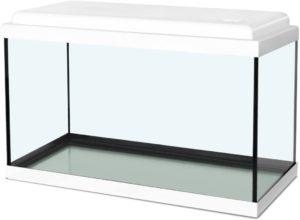 Cet aquarium est particulièrement adapté aux enfants, car le petit rabat du couvercle permet de nourrir facilement les poissons.