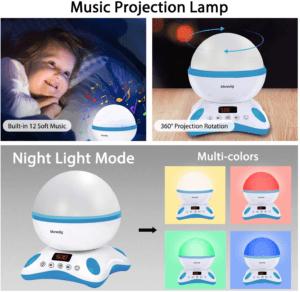 Cette veilleuse fonctionne comme un projecteur de lampe. Il diffuse un monde des étoiles ou un monde marin pour l'enfant, et l'aide ainsi à dormir. Faites le test !