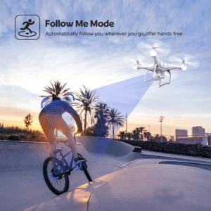"""Le drone a un mode """"follow me"""", il peut donc vous suivre sans que vous avez à le commander. A nouveau très facile d'utilisation selon les clients ayant fait le test."""