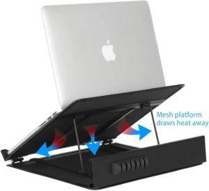 Les supports pour ordinateur portable peuvent également inclure des ventilateurs de refroidissement.