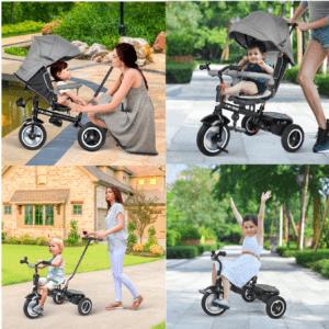 Ce tricycle évolutif pour bébé, de la marque Besrey est un 7 en 1. Faites le test dès maintenant!