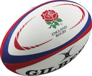 Ballon Réplica Gilbert de l'Angleterre, tous les ballons Réplica sont issus de licences officielles et approuvées par les unions internationales de rugby.