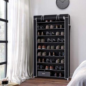 Ce meuble dispose de 10 niveaux pour ranger vos chaussures et est également équipé d'une housse contre la poussière.