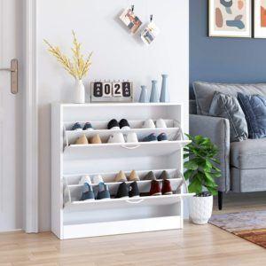 Ce meuble à chaussures de la marque Homfa est en bois et est recouvert de laqué blanc. Il mesure 60 x 24 x 80cm et est sur deux étages.