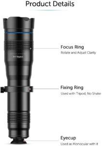 Selon les tests du fabricant, l'objectif téléobjectif APEXEL HD 36X est composé d'un prisme de Schmidt, une combinaison parfaite de haute transparence et de haute définition.