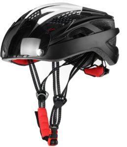 Casque de cyclisme avec sangle et éclairage LED