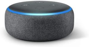 Cet enceinte intelligente est connectée au système d'assistance virtuelle Alexa.