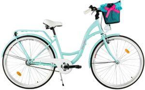 Un vélo urbain avec panier avant et porte-bagage arrière