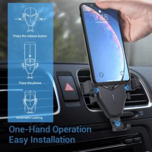 Vous pouvez accrocher votre téléphone portable sur votre support téléphone pour voiture avec une seule main.