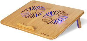 Refroidisseur PC portable en bois avec vitesse réglable.