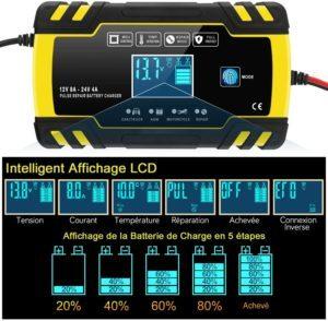 Chargeur de batterie automatique et intelligent de 12V/24A pour moto camion