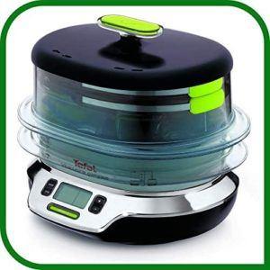 Appareil de cuisson avec paniers rétractables et couvercle hermétique.