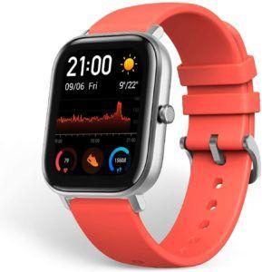 Une montre gps avec un bracelet bien coloré