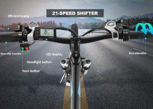 Vélo électrique doté d'une batterie au lithium Shimano 21 Vitesses.