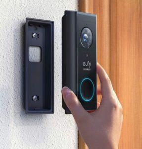 Visiophone sans fil dotée d'une batterie pour la sécurité.