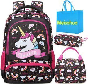 Le sac à dos licorne pour les petites filles en noir et rose.