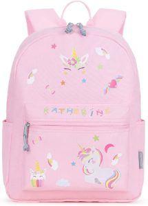 Le sac à dos mommore pour une petite fille en rose avec une licorne dessus.