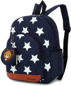 Un sac à dos pour enfant en rouge avec des étoiles et une poche avant.