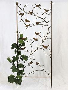 Relaxdays Treillis jardin oiseaux fer, Clôture plante grimpante Grille fleurs métal