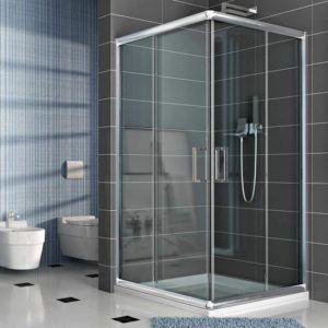 Les panneaux de cette cabine de douche sont transparents