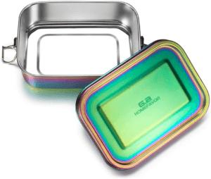 C'est une boîte à repas en acier inoxydable avec clip de verrouillage
